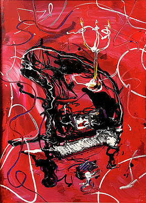 Painting - Red Baby Grand Piano by Martin Bush