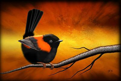 Digital Art - Red Backed Fairy Wren Portrait by John Wills