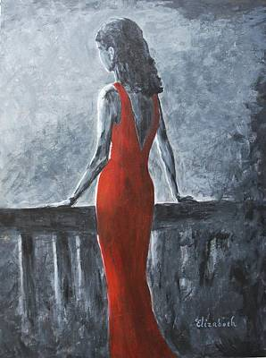 Red Balcony Dress Art Print by Beth Maddox