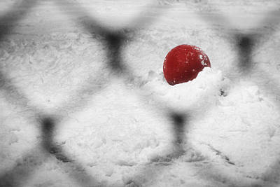 Red Ball In The Snow Print by Stuart Litoff