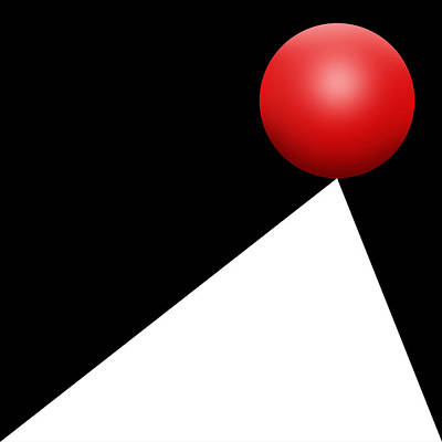 Vertical Art Digital Art - Red Ball S Q 10 by Mike McGlothlen