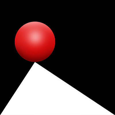 Op Art Digital Art - Red Ball S Q 5 by Mike McGlothlen