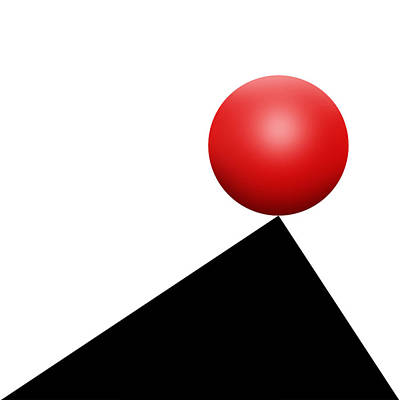 Abstract Drawing - Red Ball S Q 6 by Mike McGlothlen