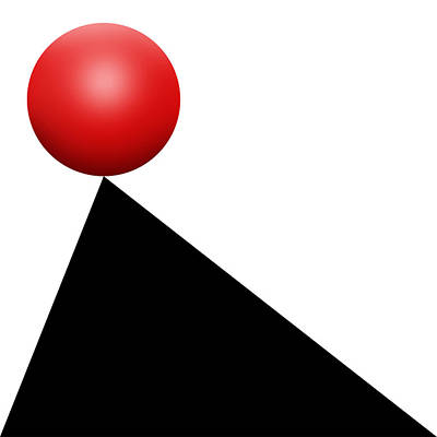 Abstract Design Drawing - Red Ball S Q 9 by Mike McGlothlen