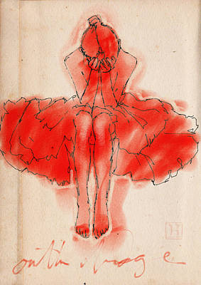 Mixed-media Drawing - Red Ballerina by H James Hoff