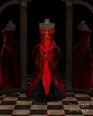 Red Ballgown Reflections Art Print