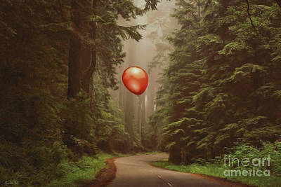 Red Balloon In The Redwood National Forest Art Print