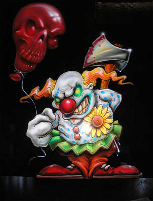 Evil Clown Painting - Red Balloon by Mike Royal
