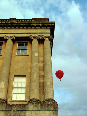 Photograph - Red Balloon Over Royal Crescent, Bath Uk by Christopher Rees