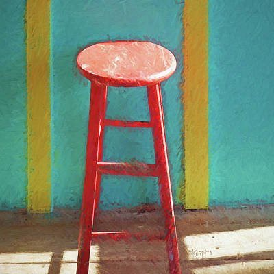 Photograph - Red Bar Stool Interior Scene by Rebecca Korpita
