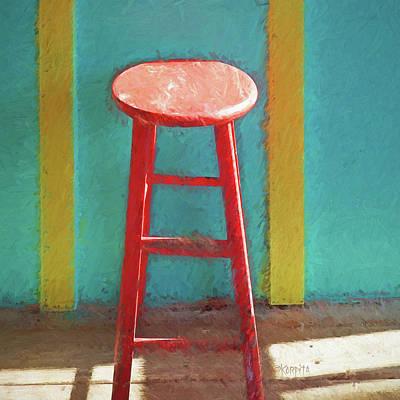Photograph - Red Bar Stool Interior Scene by Rebecca Korpita