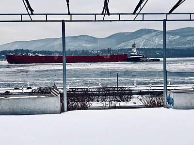 Photograph - Red Barge On Hudson by Cornelia DeDona