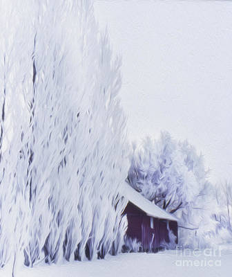 Photograph - Red Barn After A Fresh Snowfall by Greg Kopriva