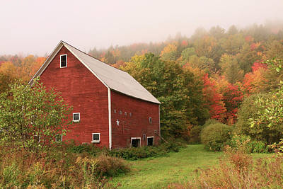 Photograph - Red Barn Among The Foliage # 2 by Allen Beatty