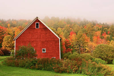 Photograph - Red Barn Among The Foliage by Allen Beatty