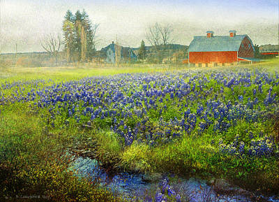 Texas Farm House Painting - Red Barn And Blue Bonnet Spring by R christopher Vest