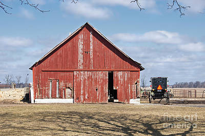 Photograph - Red Barn And Buggy by David Arment