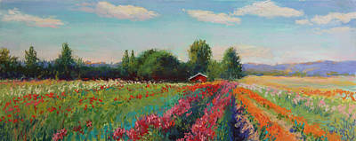 Pastel Barns Painting - Red Barn And Dahlias by Susan Kuznitsky