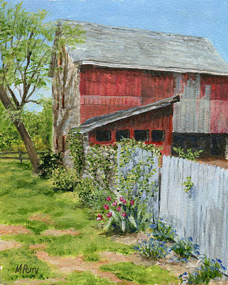 Painting - Red Barn And Gray Fence by Margie Perry