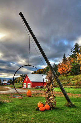 Red Barn And Pumpkins In Autumn - Vermont Art Print
