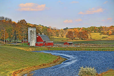 Photograph - Red Barn And Silo by Allen Beatty
