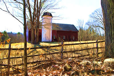 Photograph - Red Barn And Silo  by Betty Pauwels
