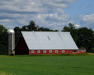 Photograph - Red Barn And Silo by John Bushnell