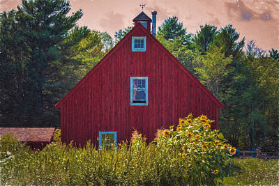 Sunflower Photograph - Red Barn And Sunflowers Painted by Black Brook Photography