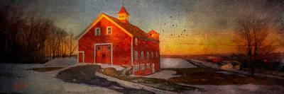 Barns Digital Art - Red Barn At Dusk by Michael Petrizzo