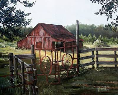 Landscape Oil Painting - Red Barn At Sunrise by Cynara Shelton