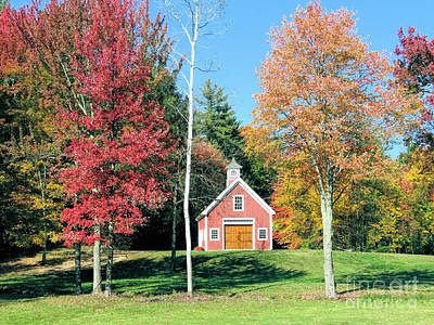 Photograph - Red Barn Autumn In Hollis Nh by Janice Drew