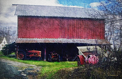Shed Digital Art - Red Barn by Brian Wallace