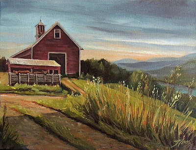 Painting - Red Barn By The Connnecticut River by Nancy Griswold