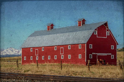 Mixed Media Royalty Free Images - Red Barn by the Railroad Tracks Royalty-Free Image by Teresa Wilson
