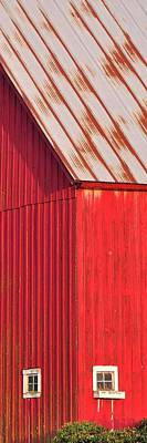 Jerry Sodorff Royalty-Free and Rights-Managed Images - Red Barn Corner Windows 7x21 by Jerry Sodorff