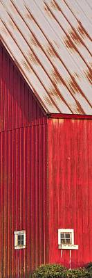 Jerry Sodorff Royalty-Free and Rights-Managed Images - Red Barn Corner Windows P by Jerry Sodorff
