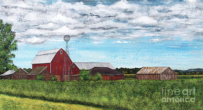 Painting - Red Barn Countryside by Jean Plout