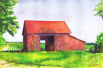 North Fork Painting - Red Barn Cutchogue Ny by Susan Herbst