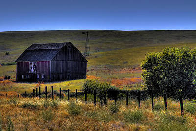 Wheat Field Photograph - Red Barn by David Patterson