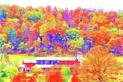 Photograph - Red Barn Fall Colours by Alice Gipson