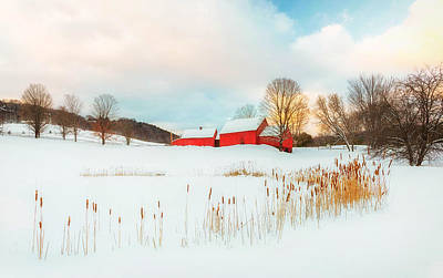 Photograph - Quechee Red Barn Farm Winter  by John Vose