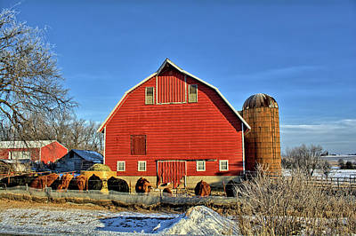 Photograph - Red Barn Feeding by Bonfire Photography