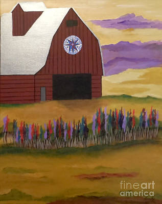 Painting - Red Barn Golden Landscape by Jean Fry