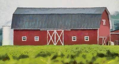 Green Beans Mixed Media - Red Barn Green Field by Dan Sproul