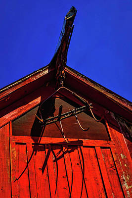 Woden Wall Art - Photograph - Red Barn Hay Claw by Garry Gay