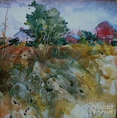 Red Barn Hill Art Print by Xx X