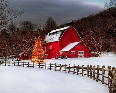 Photograph - Red Barn Holidays by John Vose