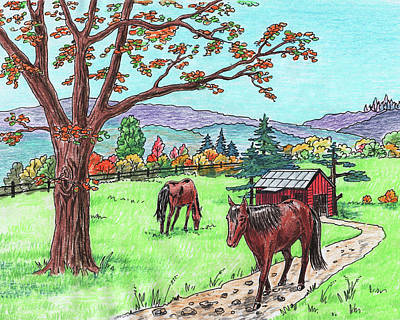 Painting - Red Barn Horses Autumn Ranch  by Irina Sztukowski