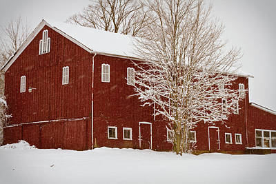 Barns In Snow Photograph - Red Barn IIi by Tim Fitzwater