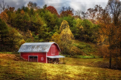 Misty Hills Farm Photograph - Red Barn In Autumn by Debra and Dave Vanderlaan